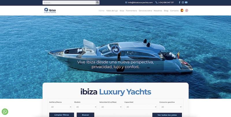 Pagina web de yates Ibiza
