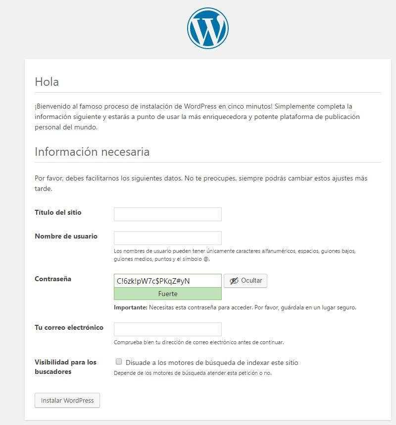 Datos del sitio web creado - Instalación de WordPress