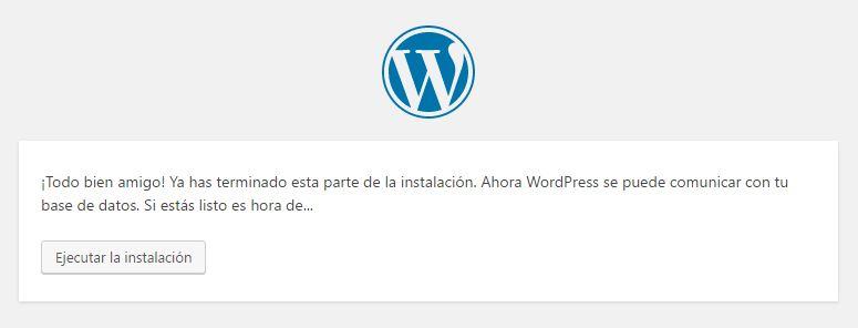 Instalación de WordPress primeros pasos finalizados