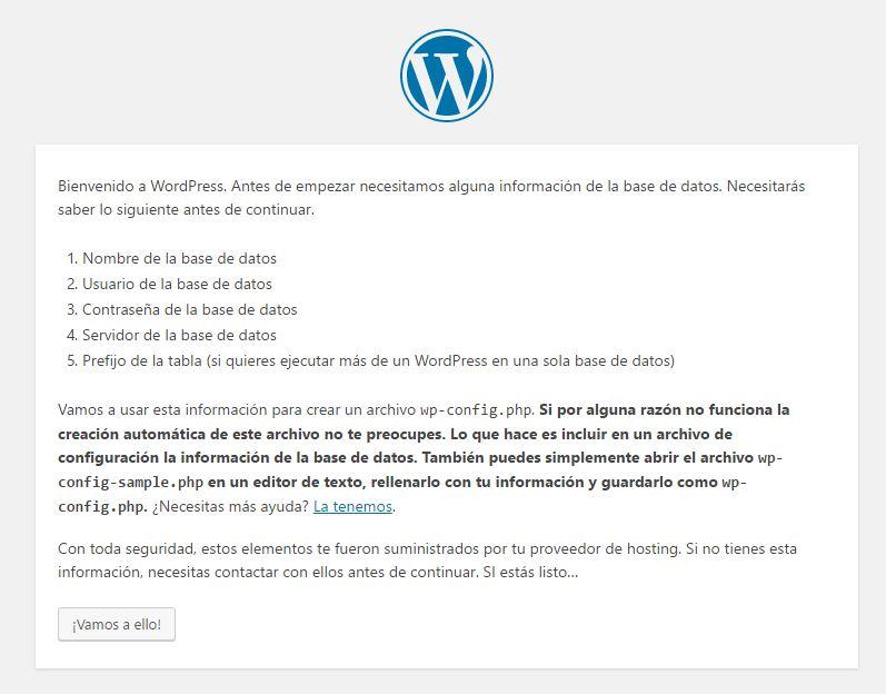 Pantalla inicial de instalación de WordPress