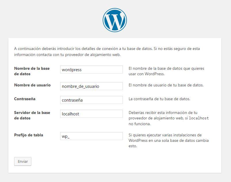 Pantalla instalación de WordPress, solicitud de datos de la base de datos