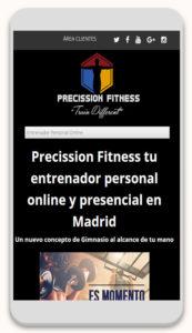 Página de inicio en Móvil de Precission Fitness