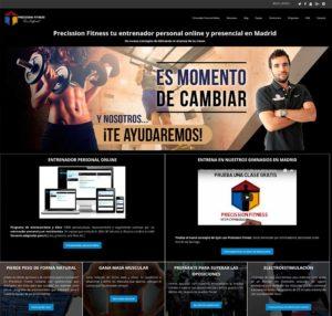 Página de inicio en PC de Precission Fitness