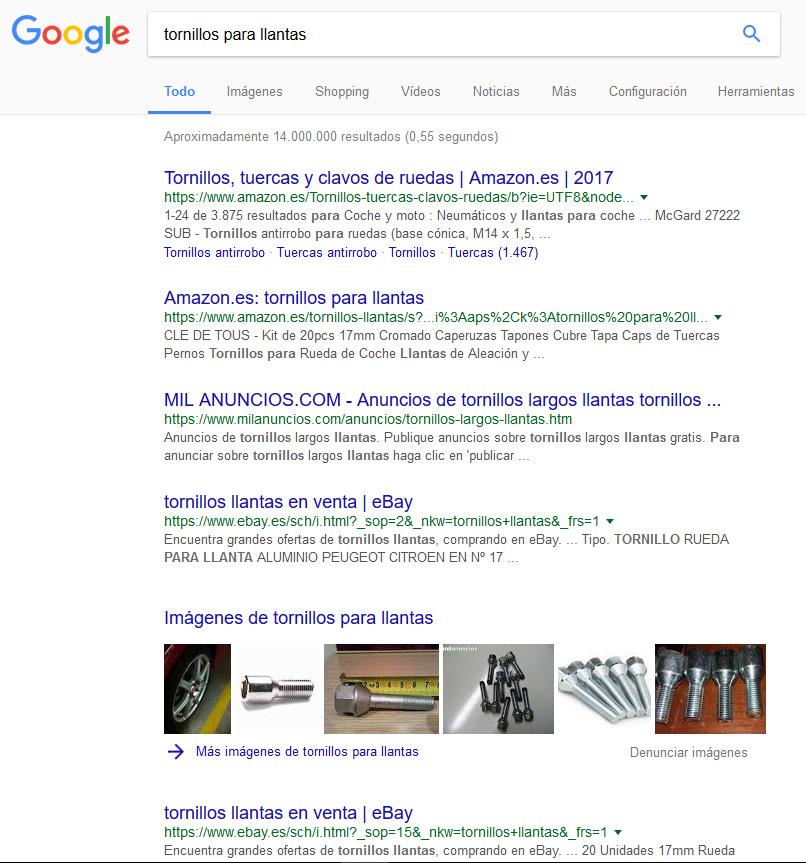 """Búsqueda en Google de """"tornillos para llantas"""""""