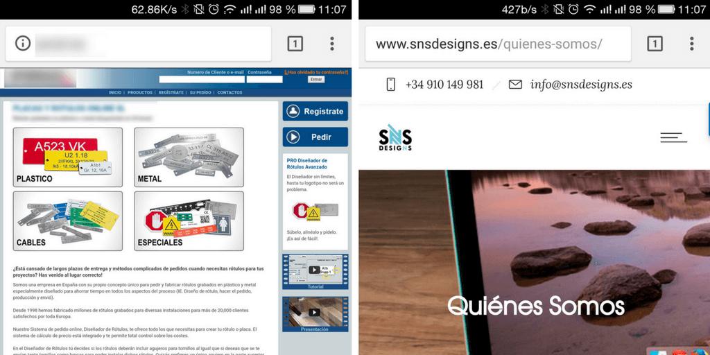 Ejemplo de Web No Responsiva y Responsiva
